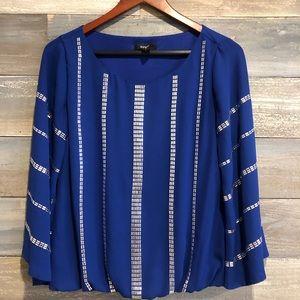 Alfani Royal blue beaded flutter sleeve top 4